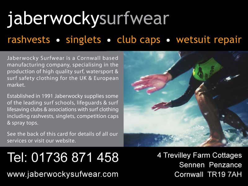 Postcard designed and printed for Jaberwocky Surfwear, Sennen Cornwall